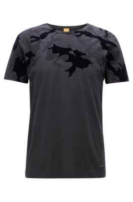 Regular-fit printed slub cotton jersey T-shirt, Black