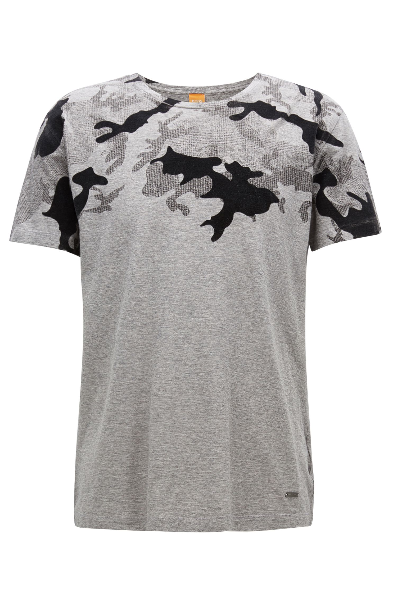 Regular-fit printed slub cotton jersey T-shirt
