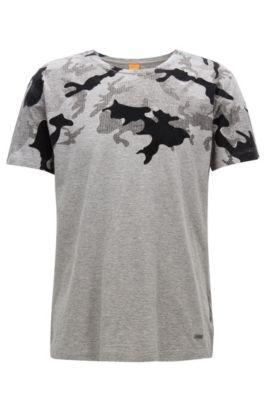 Bedrucktes Regular Fit T-Shirt aus strukturiertem Baumwoll-Jersey, Hellgrau