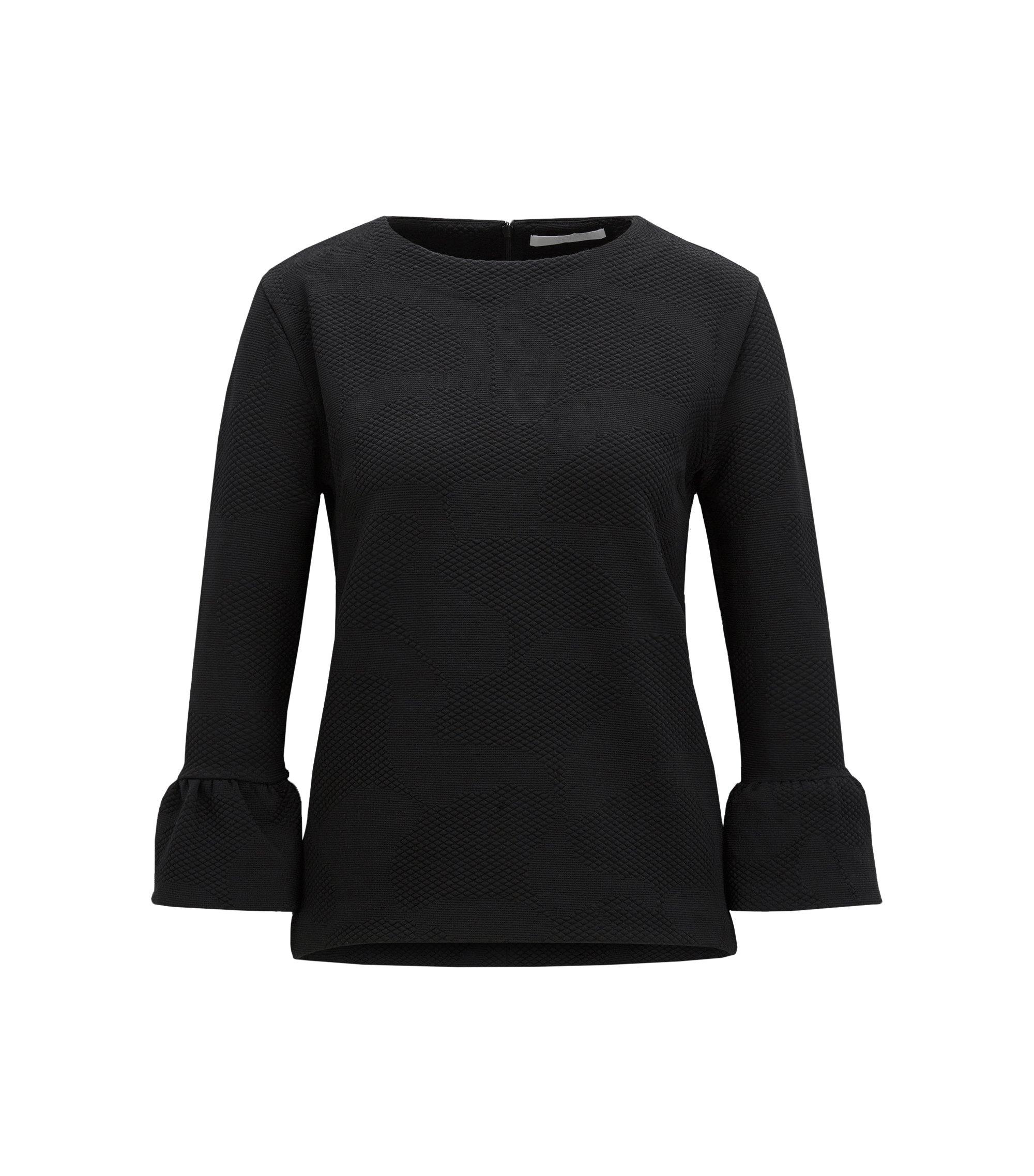 Regular-Fit Pullover aus strukturiertem Stretch-Gewebe, Schwarz