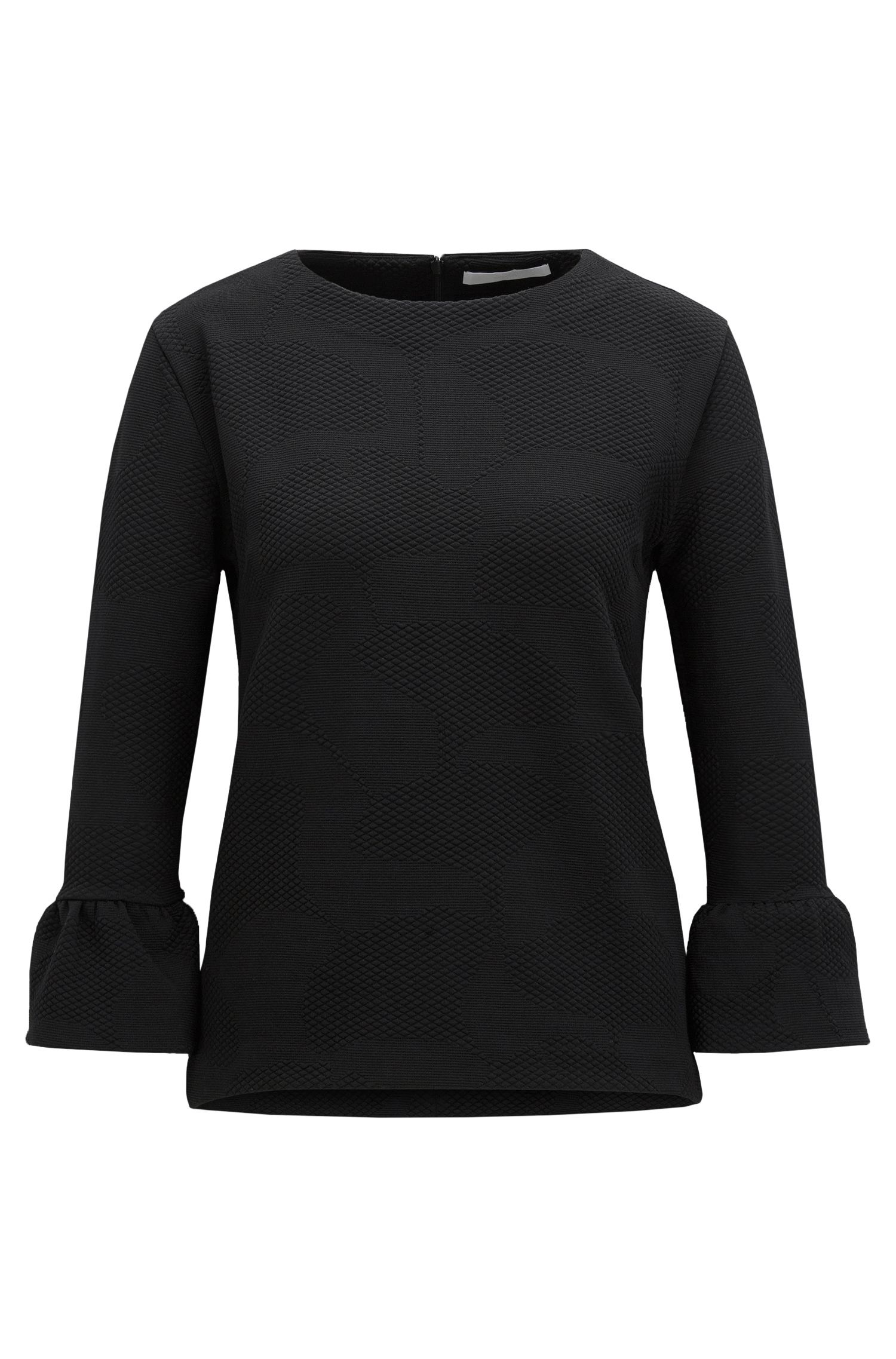 Regular-Fit Pullover aus strukturiertem Stretch-Gewebe