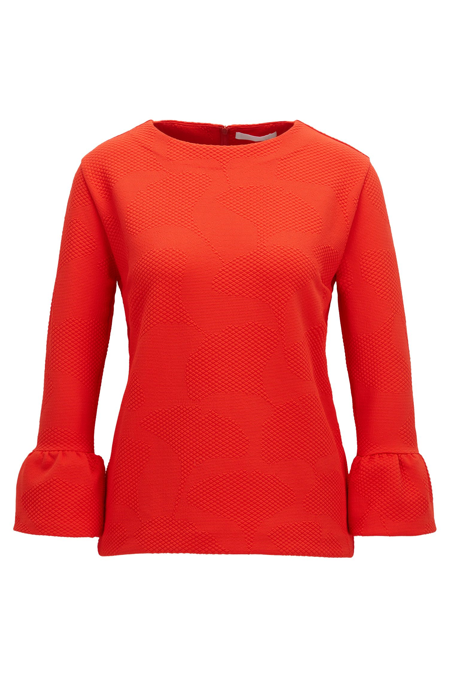 Crew-neck top in structured stretch fabric