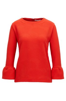 Crew-neck top in structured stretch fabric, Red