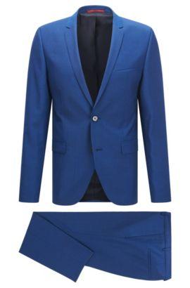 Extra slim-fit kostuum van scheerwol met weelderige afwerking, Blauw