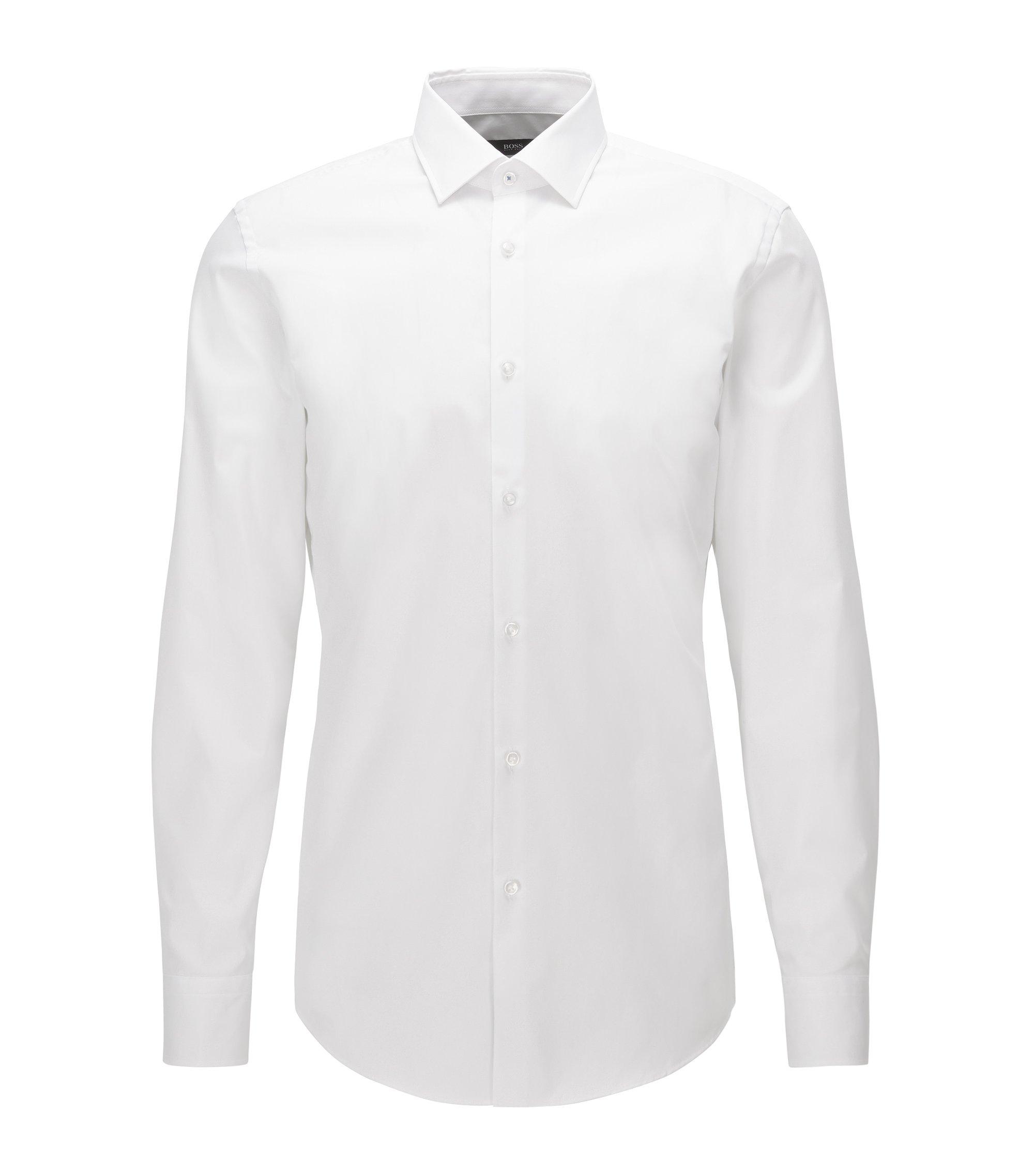 Camicia slim fit in cotone facile da stirare realizzato in Austria, Bianco