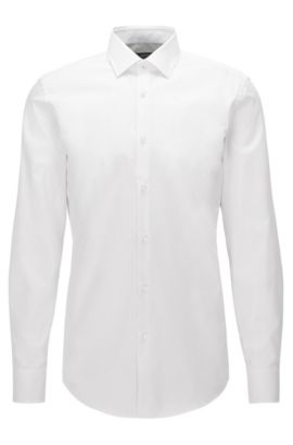 Slim-fit shirt in easy-iron cotton, Blanco