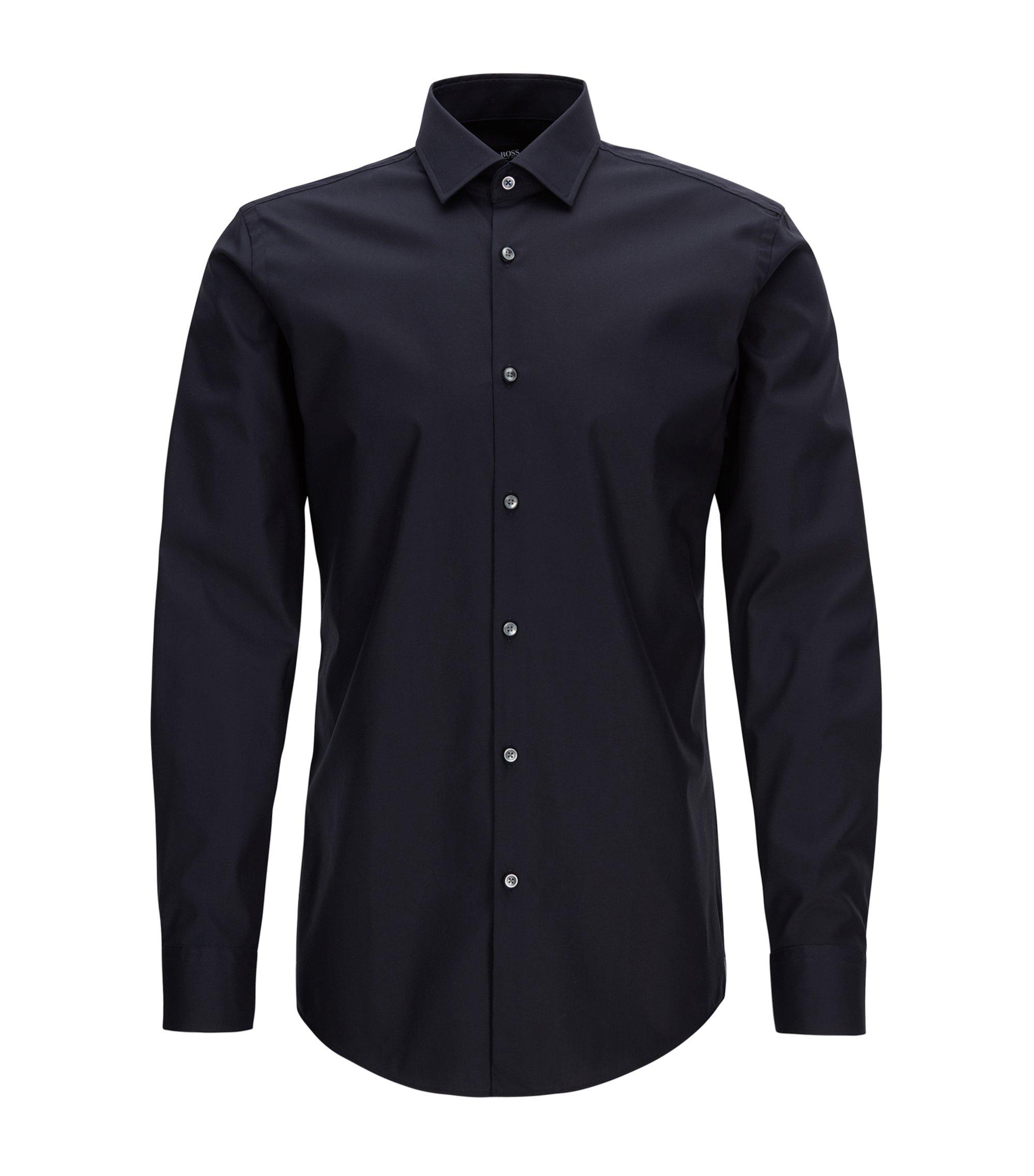 Slim-fit overhemd van gemakkelijk te strijken, Oostenrijkse katoen, Donkerblauw