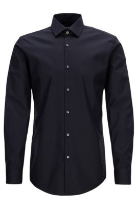 Slim-fit shirt in easy-iron cotton, Blu scuro
