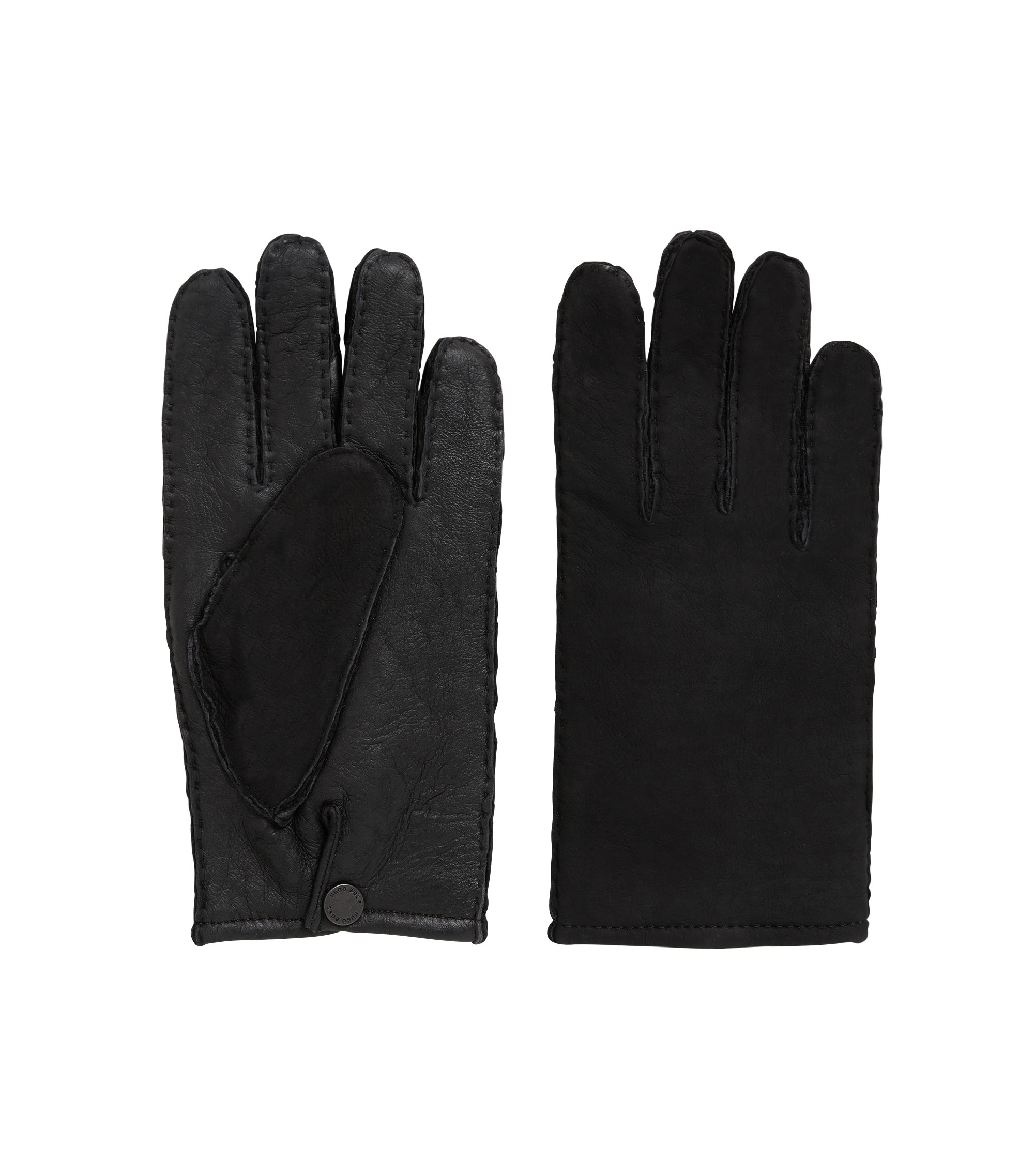 Lambskin gloves with raw-cut edges, Black