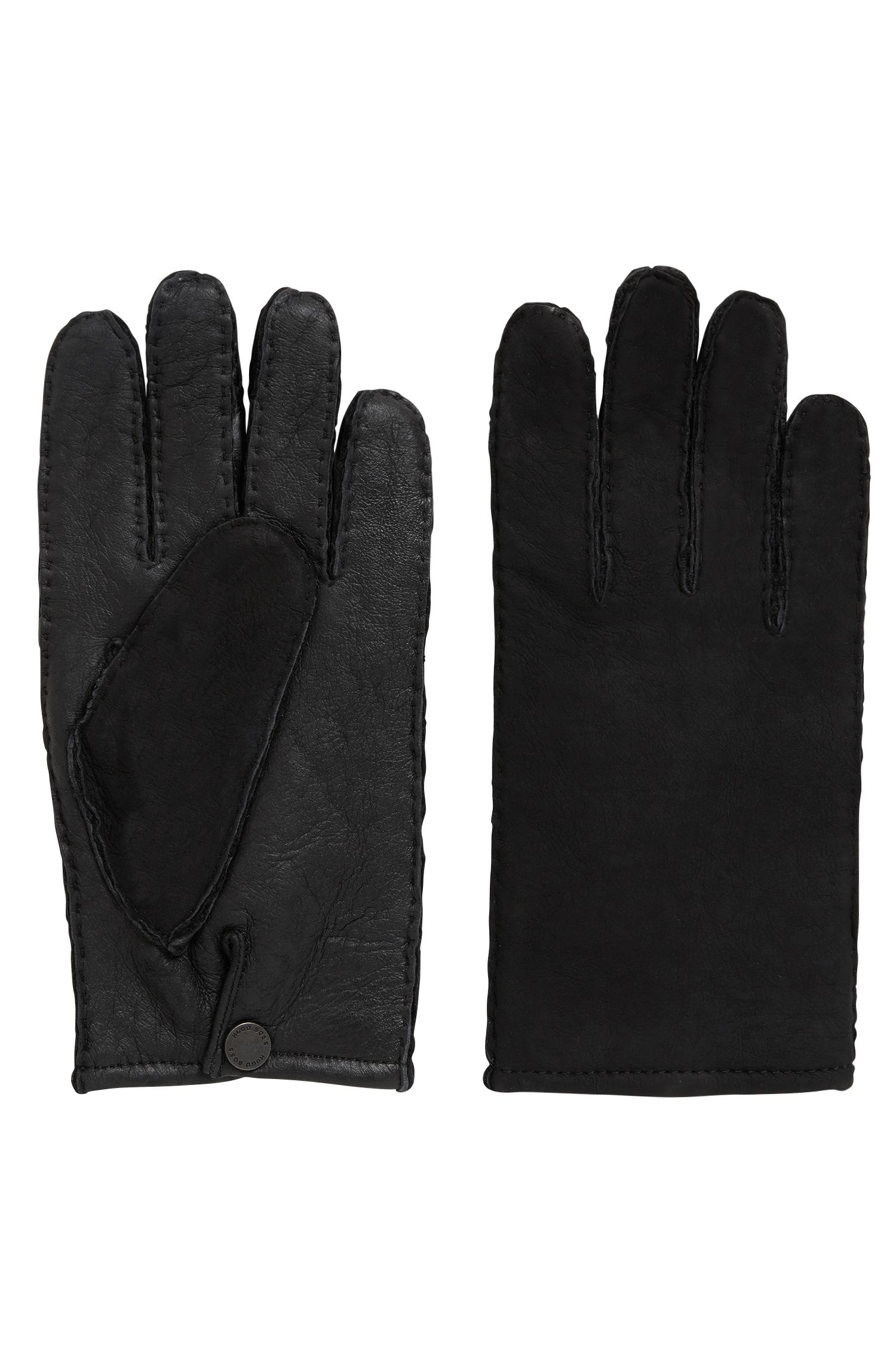 Lambskin gloves with raw-cut edges