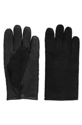 Handschoenen van lamsleer met ruwe randen, Zwart