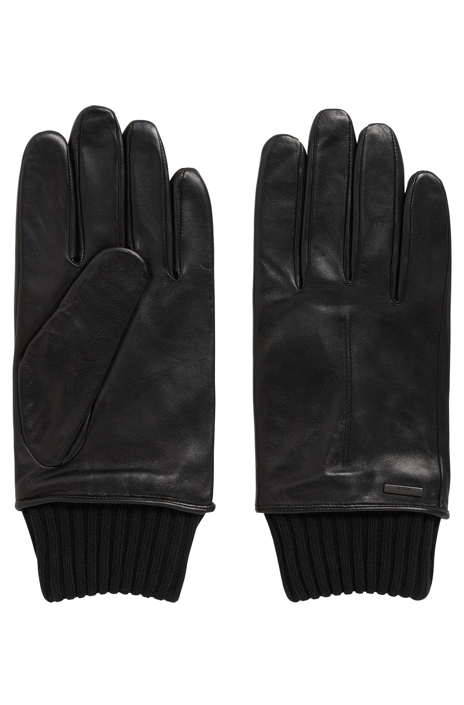 Lambskin leather gloves with knitted cuffs