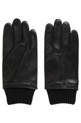 Lambskin leather gloves with knitted cuffs, Black
