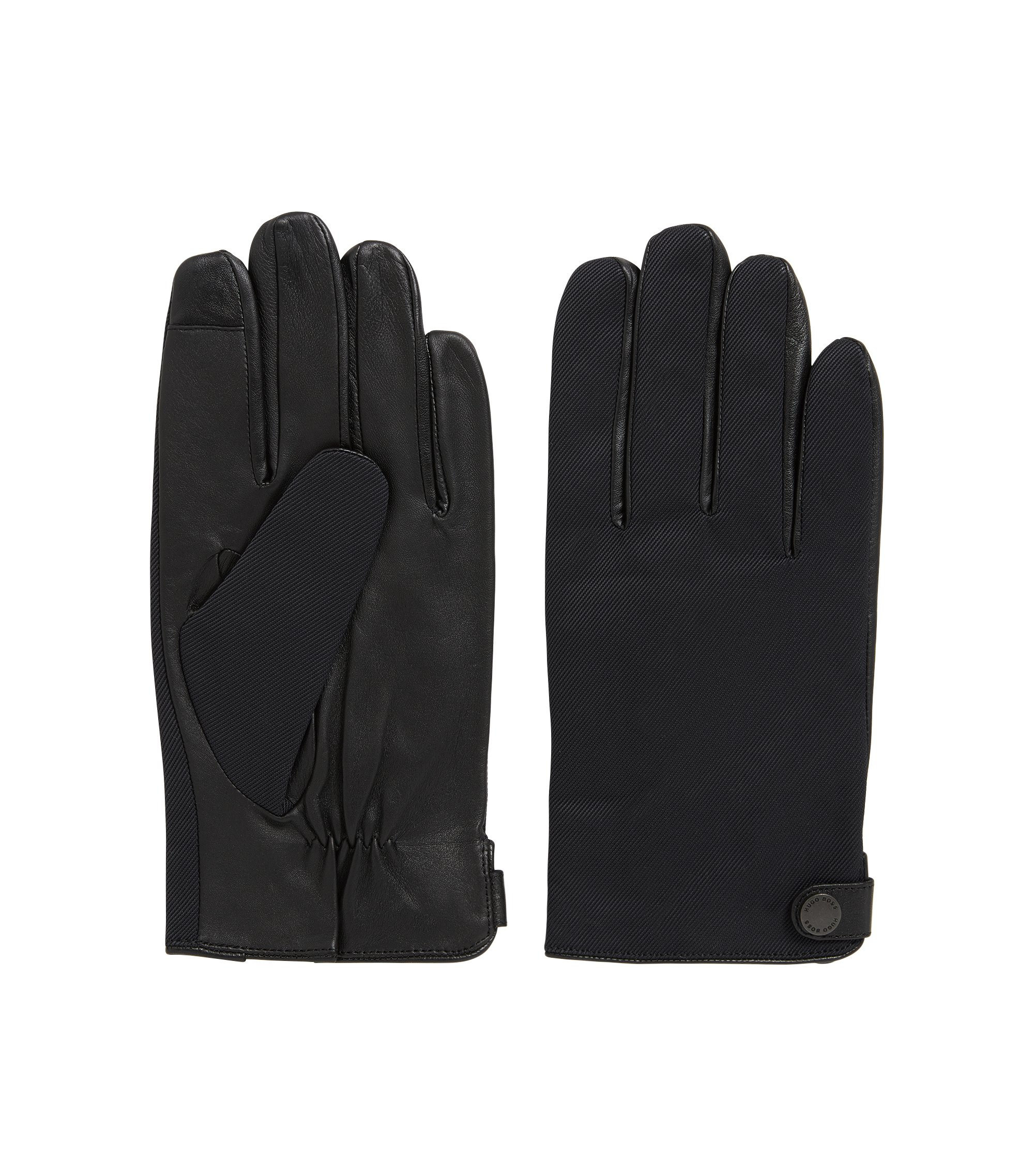 Guantes de piel de napa de cordero con detalles de tejido técnico, Negro