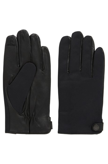 Lamb nappa leather gloves with nylon details, Black