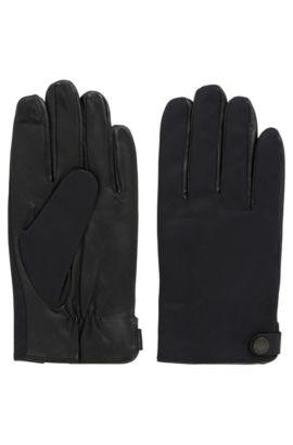 Handschoenen van lamsnappaleer met details van technisch materiaal, Zwart