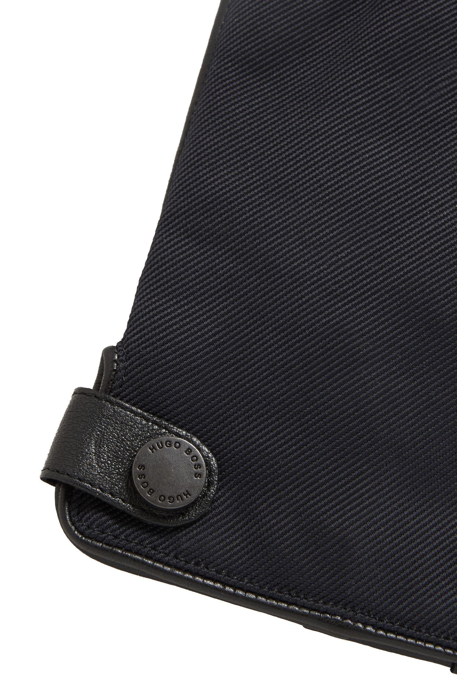 Gants en cuir d'agneau nappa avec détails en tissu technique, Noir