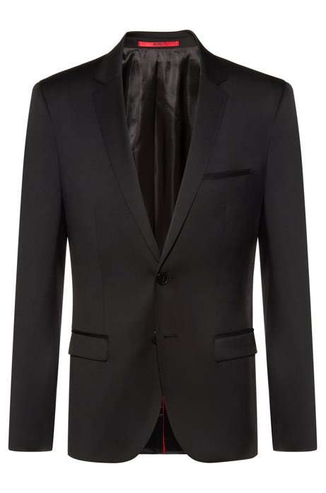 Extra-slim-fit virgin-wool jacket with piping details, Black