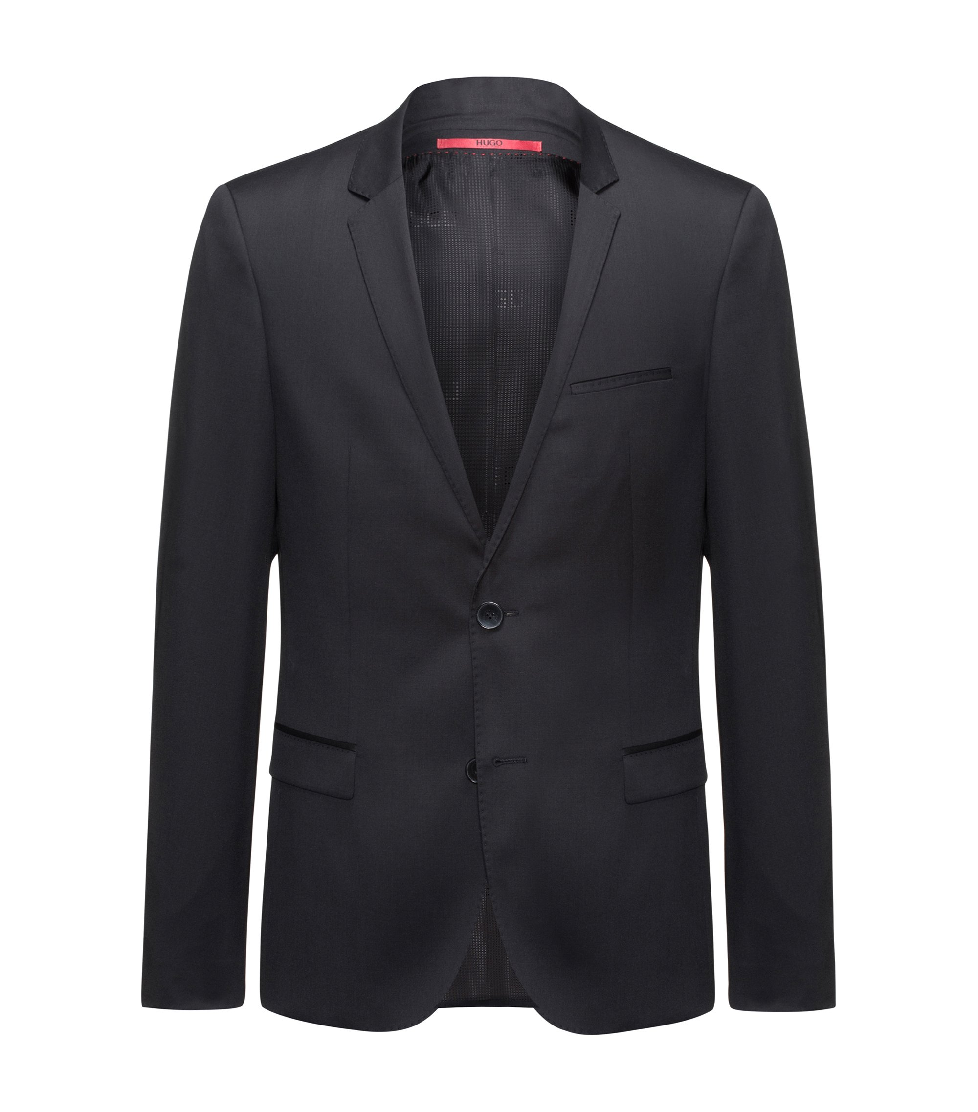 Extra-slim-fit jacket in virgin wool twill, Black