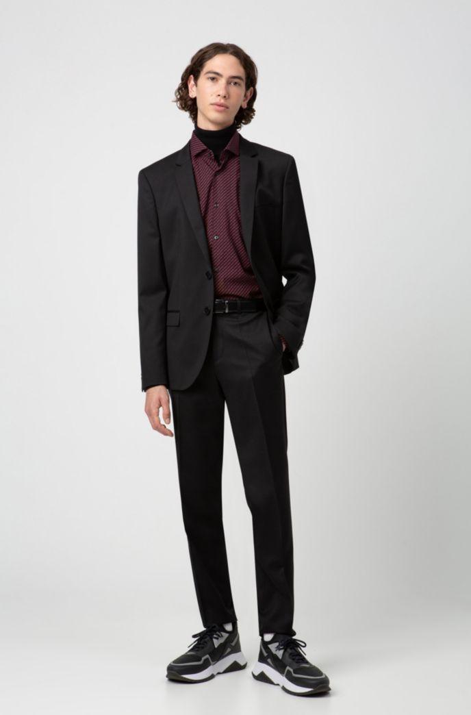 Giacca extra slim fit in lana vergine con profilature