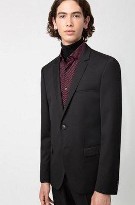Giacca extra slim fit in lana vergine con profilature, Nero
