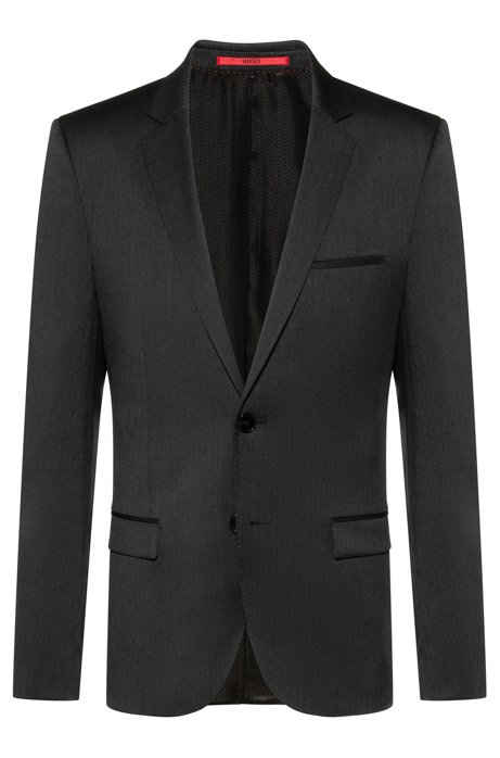 Extra-slim-fit virgin-wool jacket with piping details, Anthracite