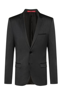 Extra-slim-fit virgin-wool jacket with piping details, Dark Grey