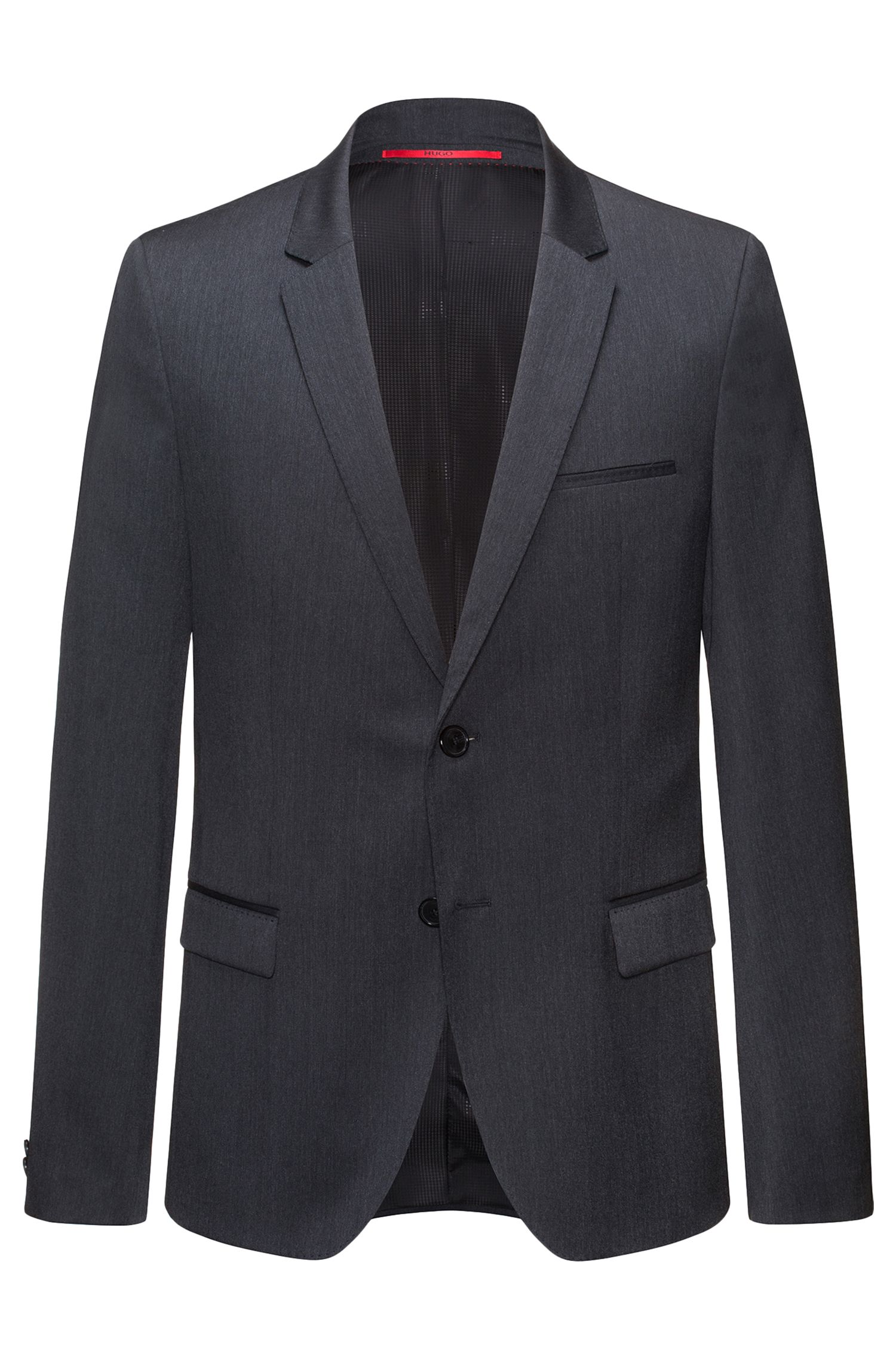 Extra-slim-fit jacket in virgin wool twill, Anthracite