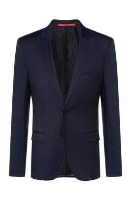 Giacca extra slim fit in lana vergine con profilature, Blu scuro
