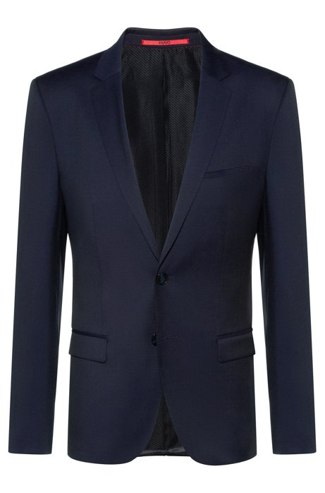 Extra-slim-fit virgin-wool jacket with piping details, Dark Blue
