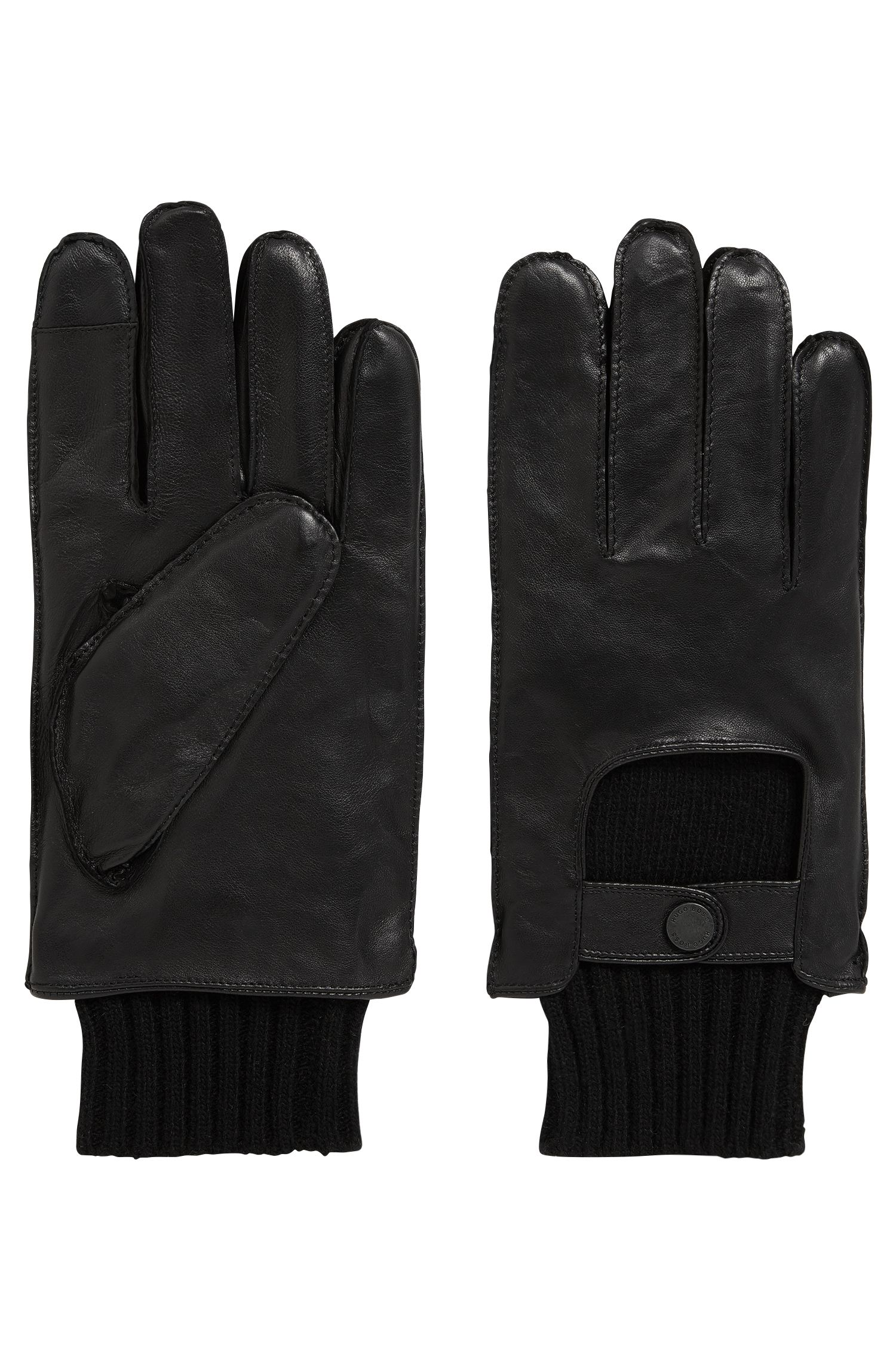 Smooth leather gloves with knitted cuffs