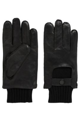 Smooth leather gloves with knitted cuffs, Black