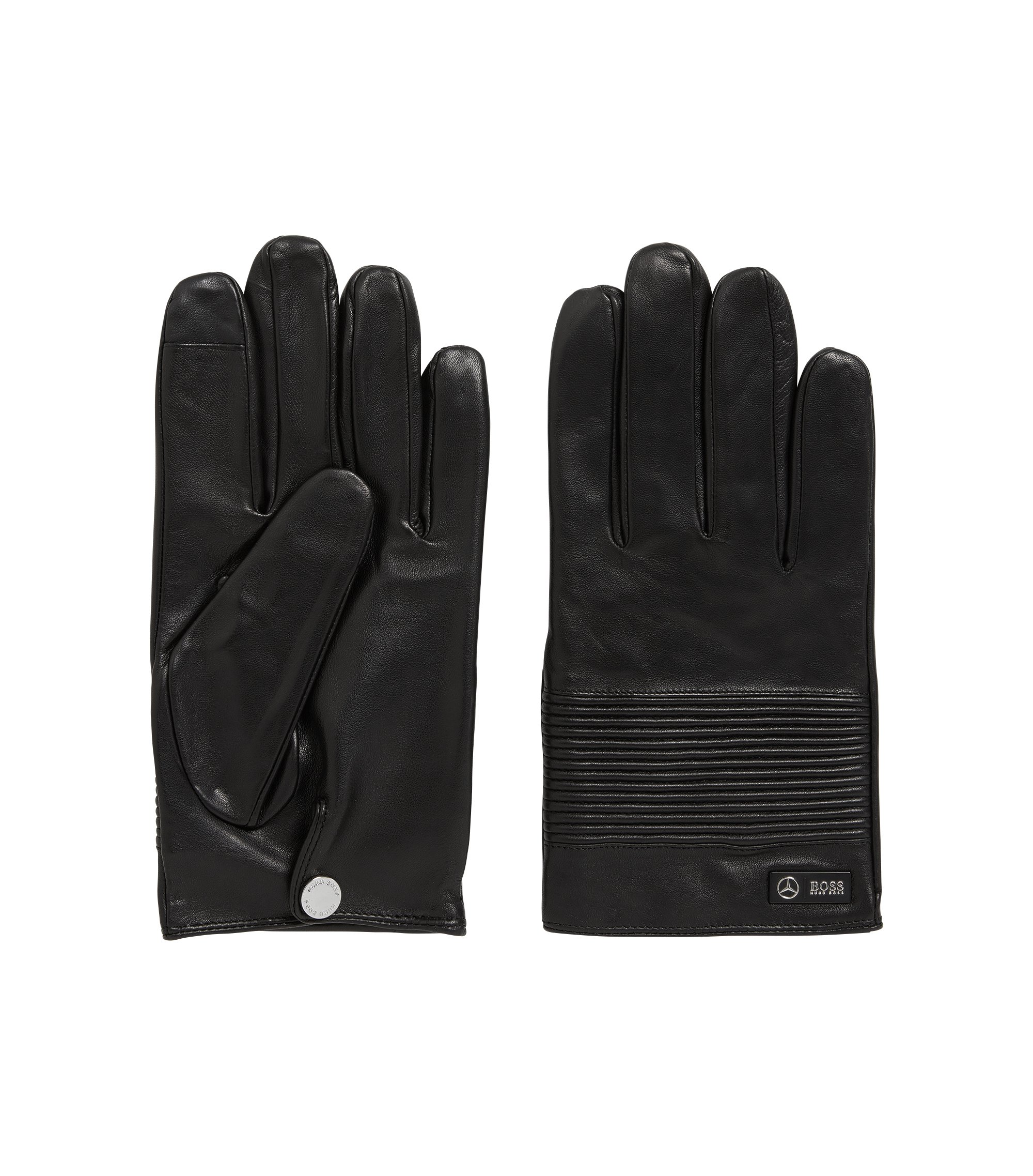 Mercedes-Benz Collection nappa leather gloves with smocked detail, Black