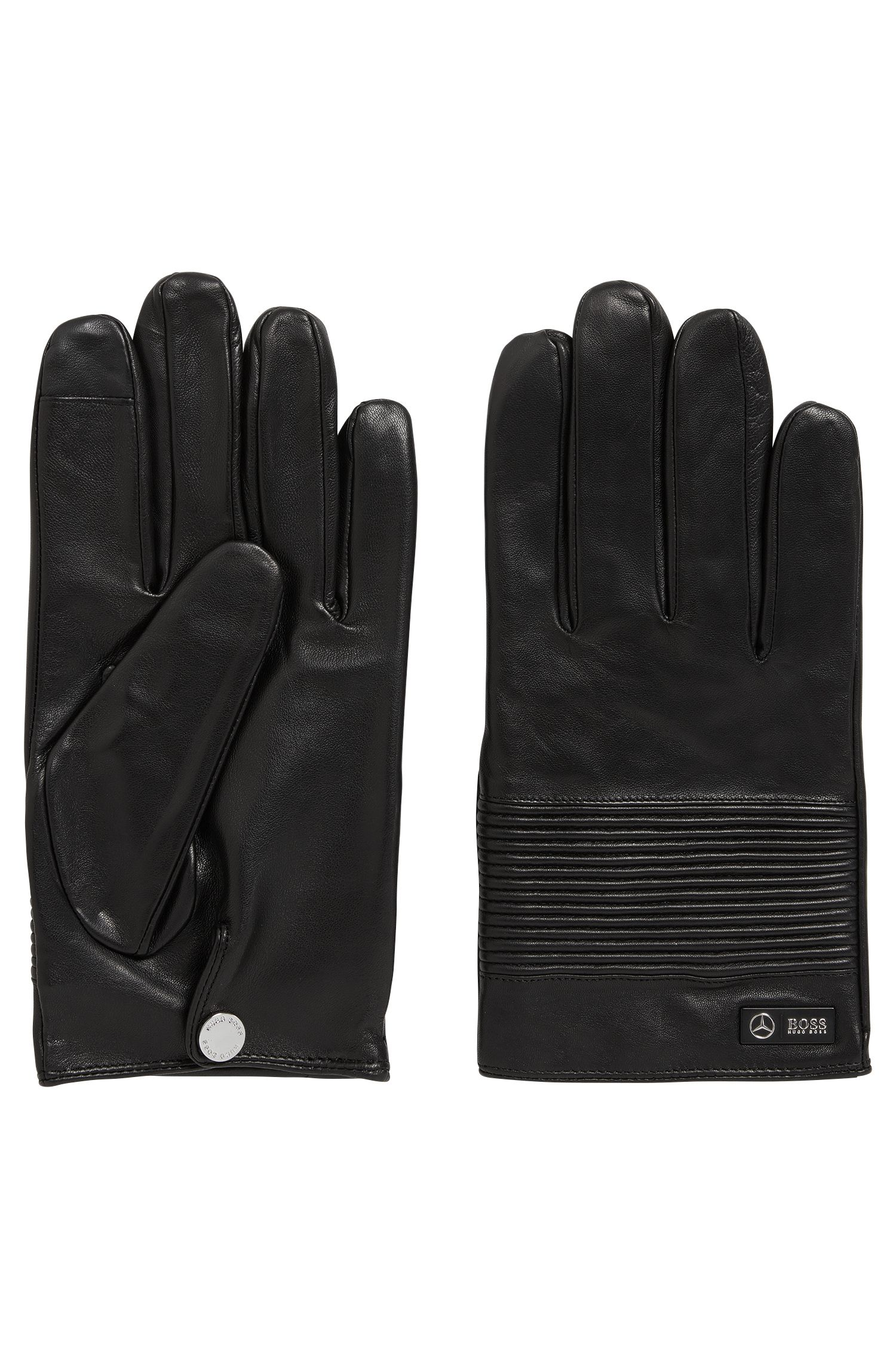 Mercedes-Benz Collection nappa leather gloves with smocked detail
