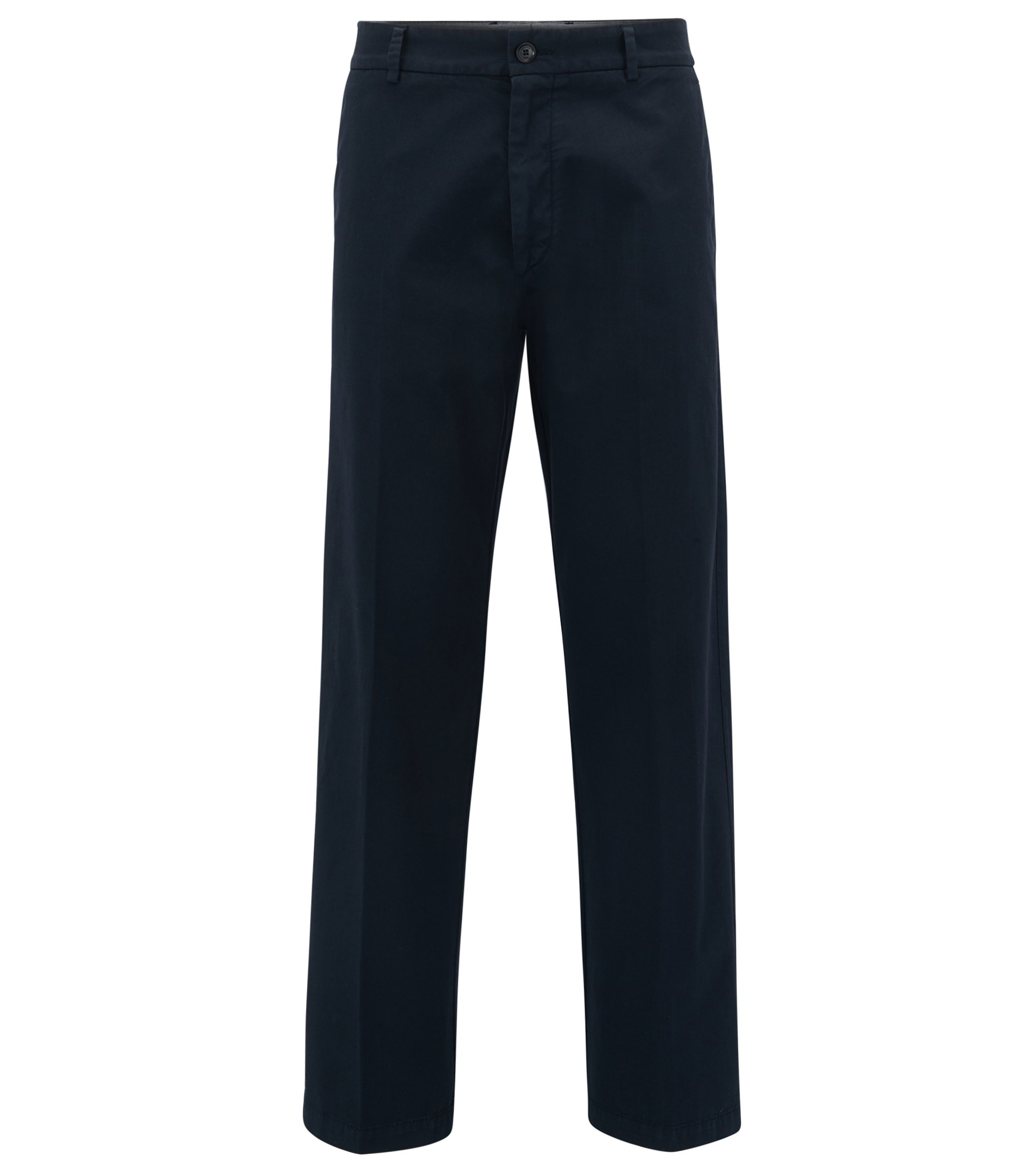 Relaxed-fit wide-leg trousers in stretch-cotton gabardine, Dark Blue