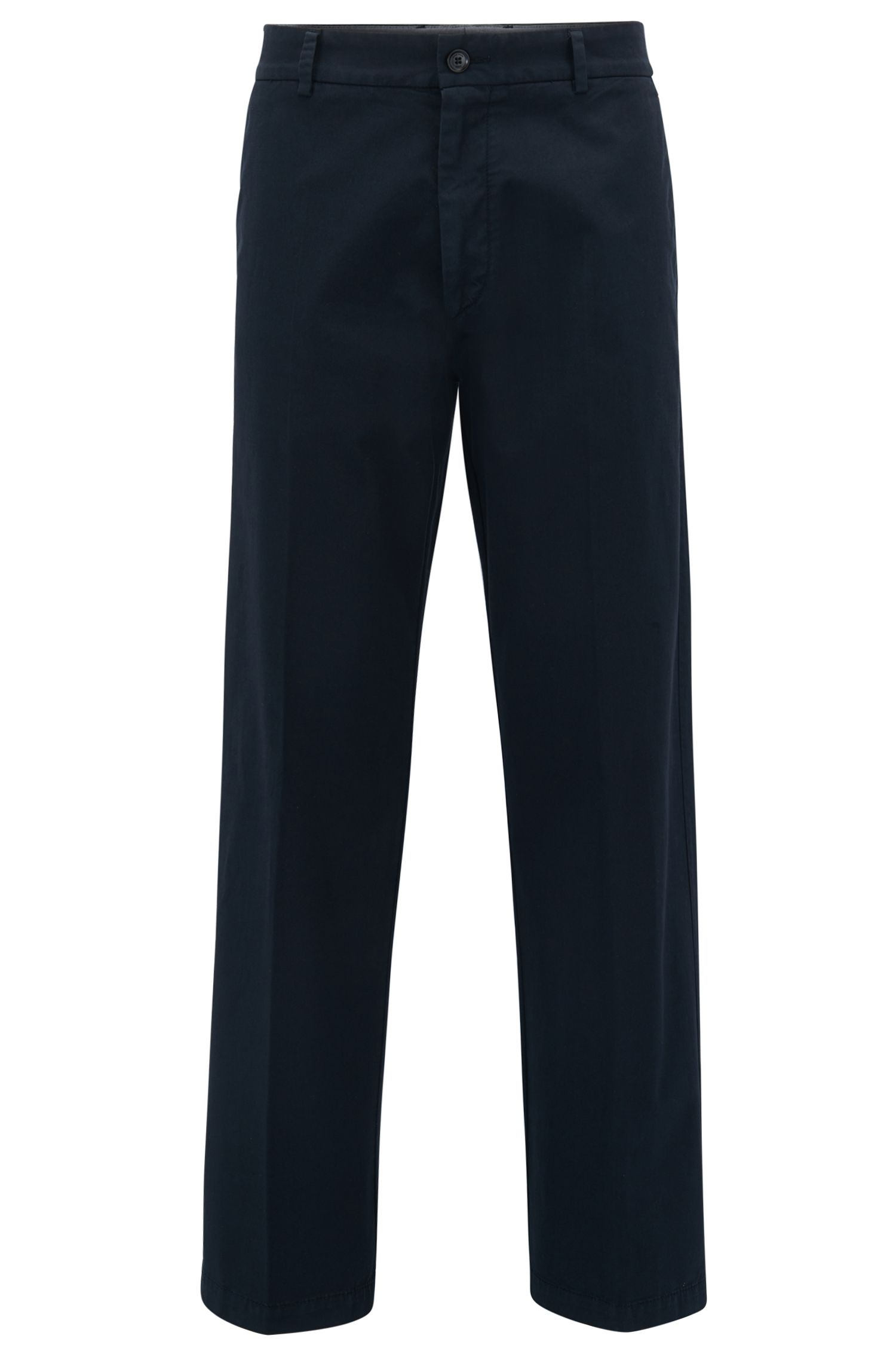 Pantalon Relaxed Fit à jambes larges, en gabardine de coton stretch