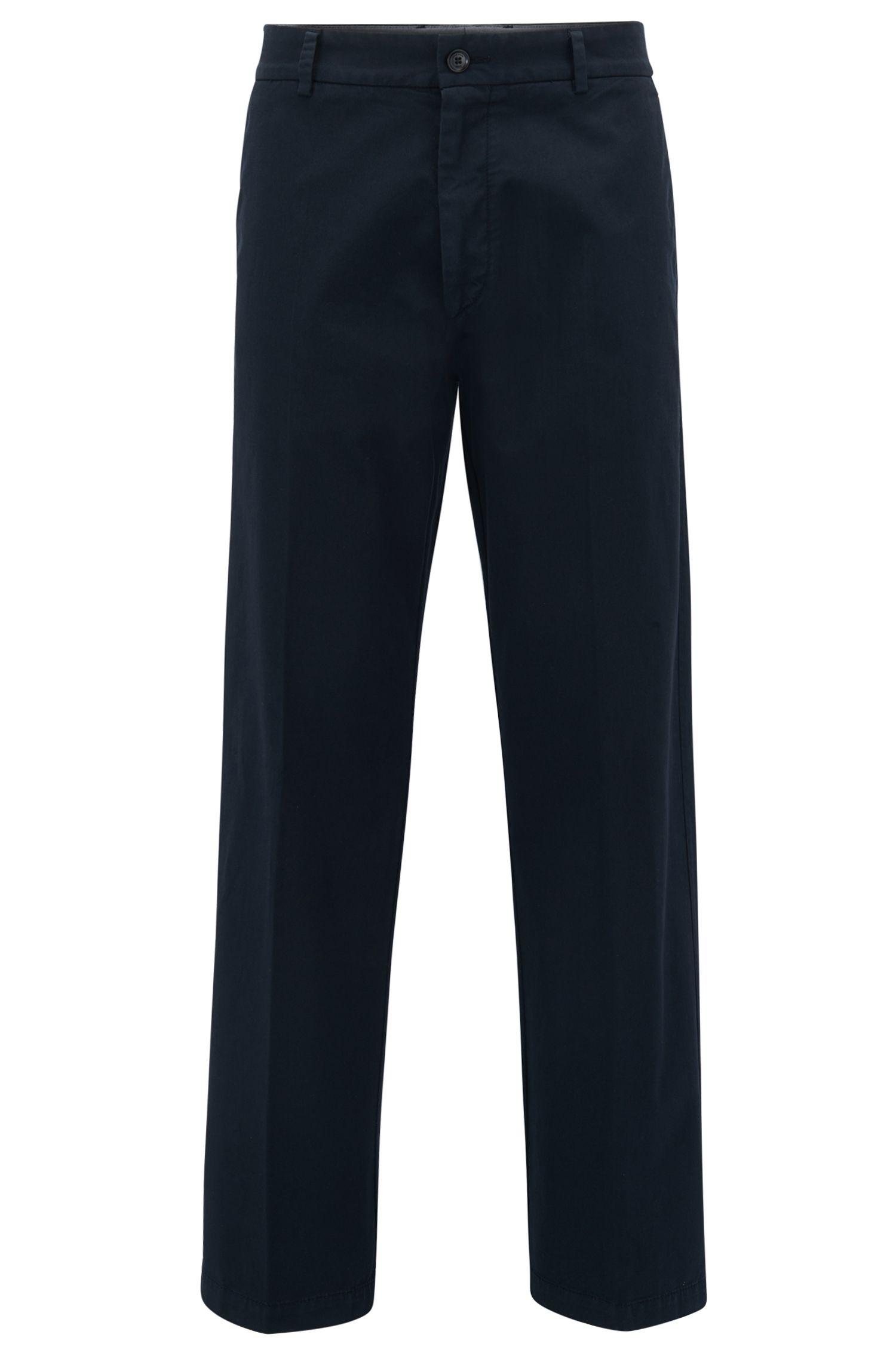 Pantalones relaxed fit en tejido de gabardina de algodón elástico con pierna holgada