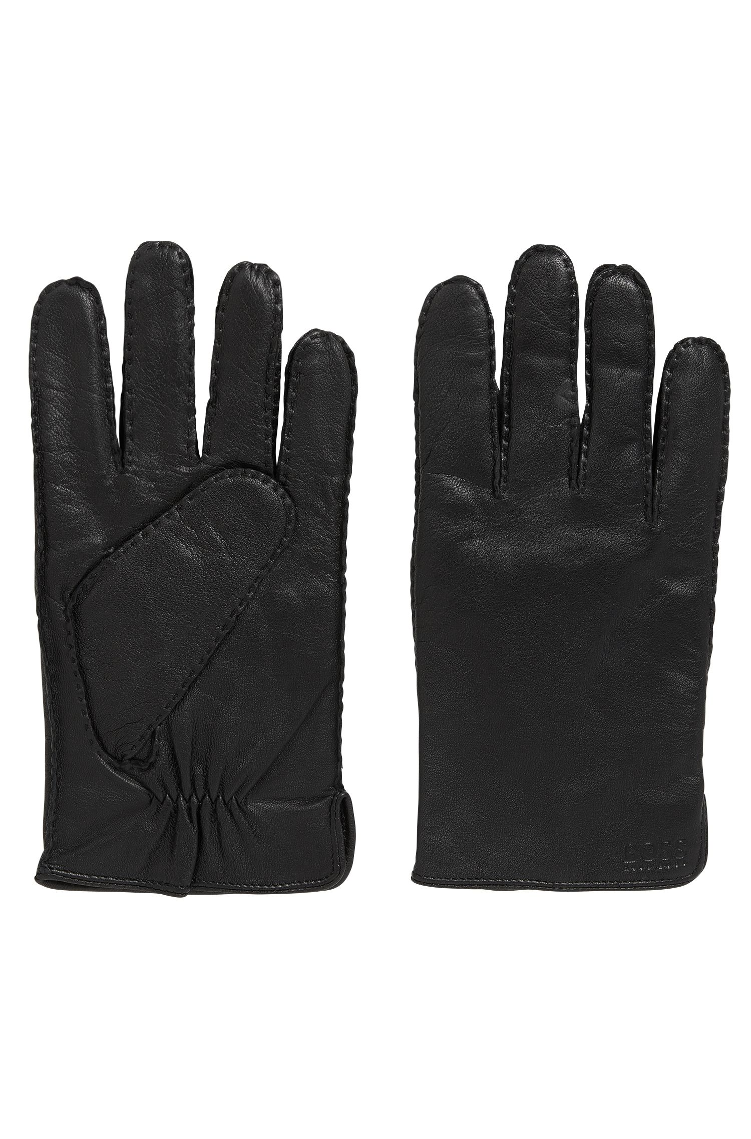 Nappa leather gloves with gathering detail