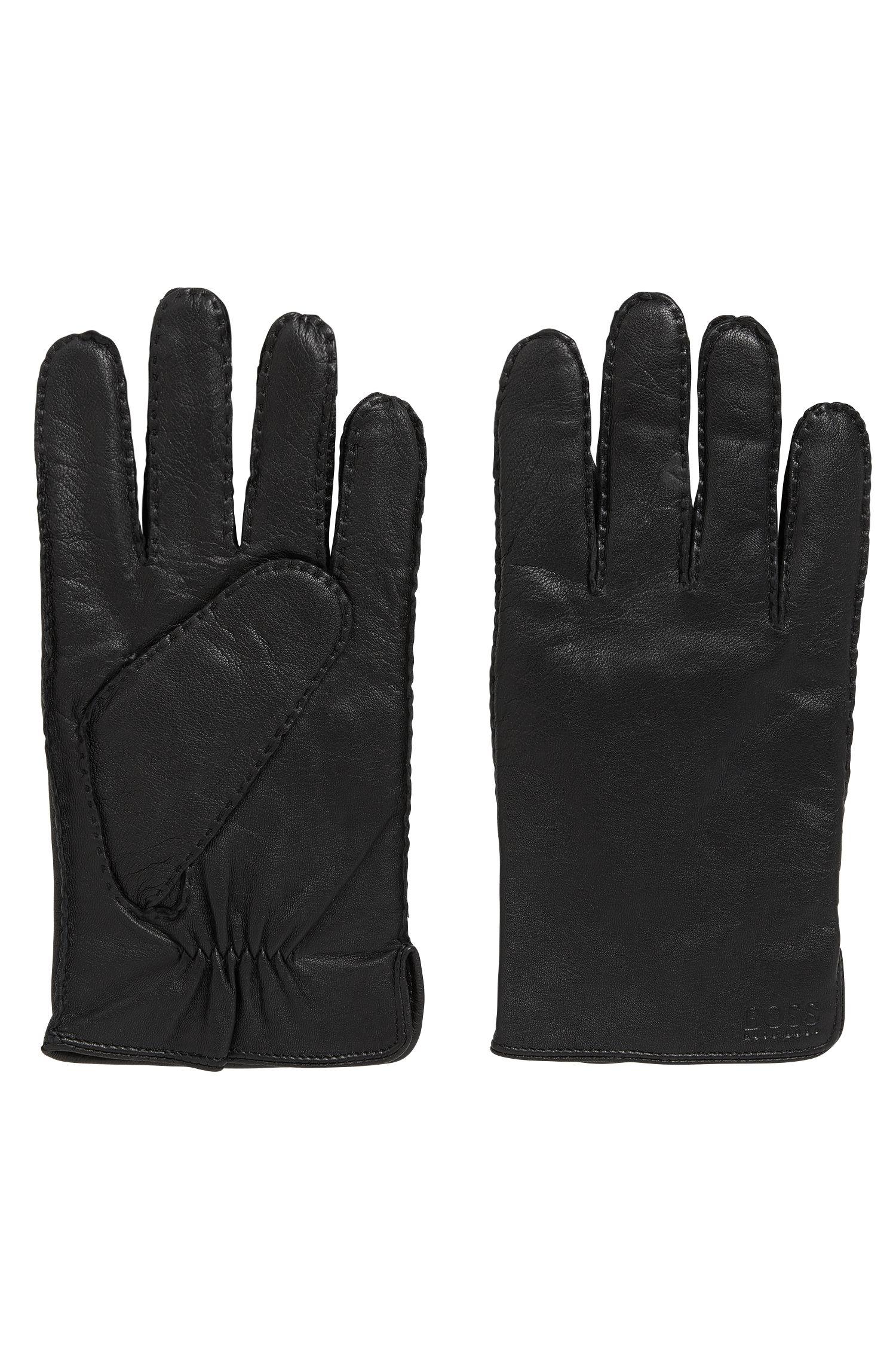 Handschoenen van nappaleer met plooidetail