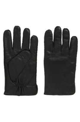 Nappa leather gloves with gathering detail, Black