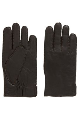 Nappa leather gloves with gathering detail, Dark Brown