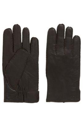 Guanti in pelle nappa con drappeggio, Marrone scuro