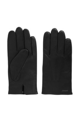 Nappa leather gloves with split cuff, Black