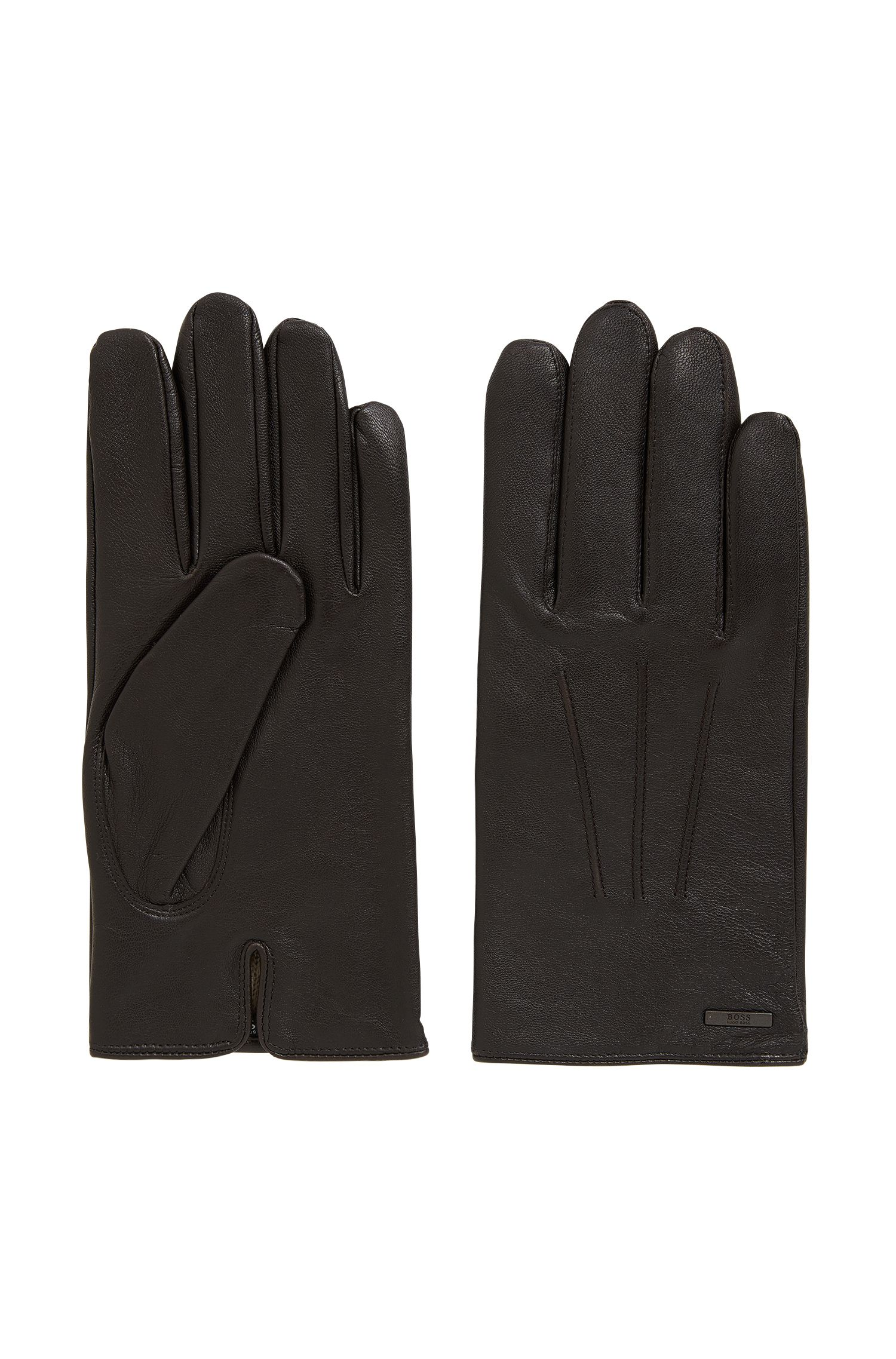 Nappa leather gloves with split cuff