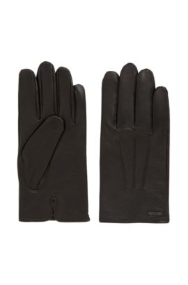 Nappa leather gloves with split cuff, Marron foncé
