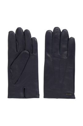 Nappa leather gloves with split cuff, Dark Blue