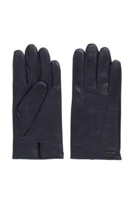 Gants en cuir nappa avec fente au niveau des poignets, Bleu foncé