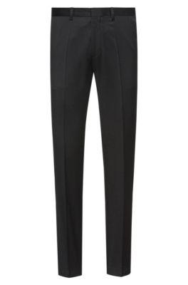 Extra slim-fit broek van gekeperde scheerwol, Zwart