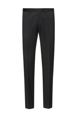 Pantaloni extra slim fit in twill di lana vergine, Nero