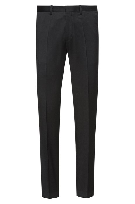 Extra-slim-fit trousers in virgin-wool twill, Black